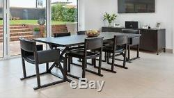 Camerich Dining Table And 6 Leather Chairs Designer Black Grey Oak