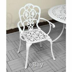 Cast Aluminium White 6 seater Garden Dining Set Arm Chairs and Oval Table Sale