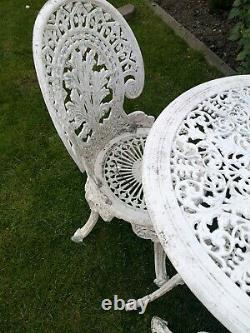 Cast Iron Effect Aluminium Garden Furniture Table And 4 Chairs