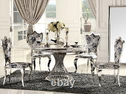 Chrome Round Marble Dining Table and 4 PU Leather Chairs Chrome Legs Coffee