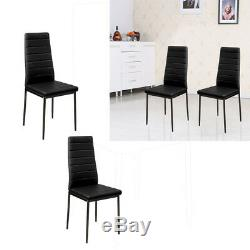 Clear Chrome and Glass Dining Table With 2/4 FX Leather Dining Chairs Set Round