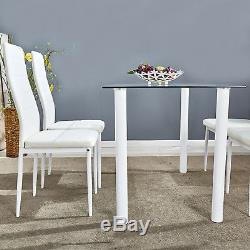Clear Glass Dining Table Set and 4 Faux Leather Chairs Kitchen Furniture White