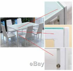Clear Glass Dining Table Set and 6 Faux Leather Chairs Kitchen Furniture White