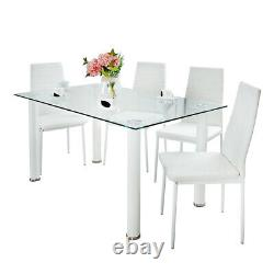 Clear Glass Dining Table and 4 White Chairs Set Home Furniture Compact Set