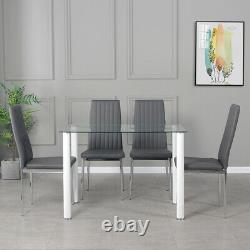 Compact Clear Glass 105cm Dining Table and 4 Grey Chrome Chairs Set