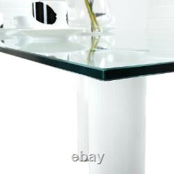 Compact Clear Glass Dining Table and 4 Diamond Chairs Set White Home Furniture