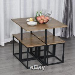Compact Dining Table and Chairs Space Saving Kitchen Modern Set 4 Small Stools