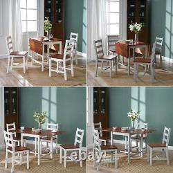 Compact Drop leaf Dining Table and 4 Chairs Solid Wood Chairs Set Space Saving