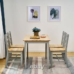 Compact Grey Solid Wood Dining Table and 4 Chairs Set Dining Room Home Furniture