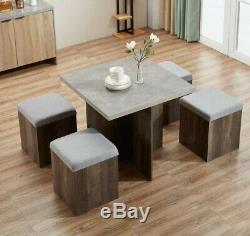 Compact Space Saver Wooden Kitchen Stowaway Dining Set Table and 4 Chairs Stools