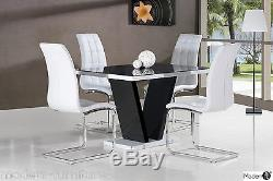 Contemporary Black And White High Gloss Dining Table And 4 Chairs, Large & Small