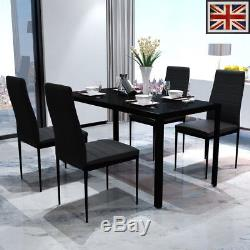 Contemporary Dining Set with Table and 4 Chairs Black Kitchen Furniture UK