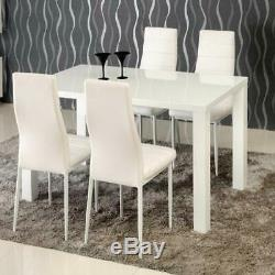 Contemporary Dining Set with White High Gloss Dining Table and High Back Chairs