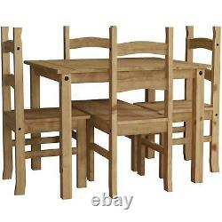 Corona 4 Seater Dining Set Chairs Table Solid Waxed Pine Finish New