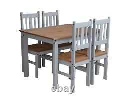 Corona Dining Set Table with 4 Chairs In Grey and Pine