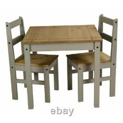 Corona Dining Table & 2 Chairs Grey Wax Rio Solid Pine Mercers Furniture