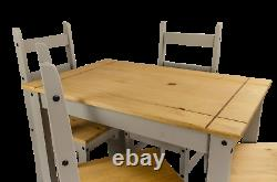 Corona Dining Table & 4 Chairs Grey Wax Budget Set by Mercers Furniture