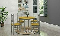 Corona Drop Leaf Butterfly Dining Set Table With 4 Chairs Pine and Grey