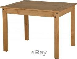 Corona Mexican Dining Set in Distressed Waxed Pine Wooden 4 Chairs and Table UK