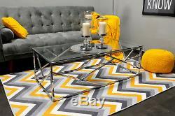 Couchtisch Kaffetisch Wohnzimmer Tisch TUTUMI Glamour Glastisch 55X55 90X50