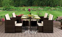 Cube Rattan Garden Furniture Set Chairs Sofa Table Patio Wicker 8 Seater