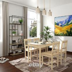 DINING TABLE AND 4 CHAIRS SET QUALITY SOLID WOODEN HOME 5 Piece Furniture