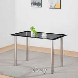 Dining Black Table and Gray Chairs Set Tempered Glass PU Leather 2/4/6 Rectangle