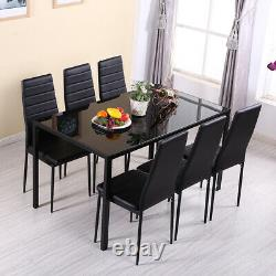 Dining Glass Table And 4 PU Chairs Set Kitchen Dinning Room Black White Grey NEW