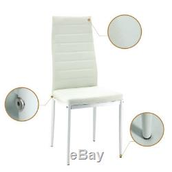 Dining Glass Table Clear and 4Faux Leather Chairs Set White Kitchen Dinning Room