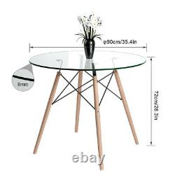 Dining Glass Table and 4 Tulip Chairs Set with Padded Cushion Wooden Legs Retro