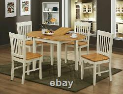 Dining Kitchen Table Set Extending Oval Four Chairs Natural Oak and White Finish