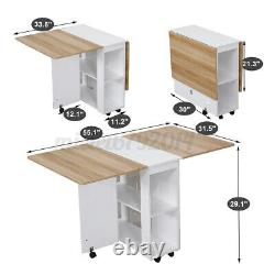 Dining Kitchen Table and 4 Chairs Set Two Drop Leaf Folding Top Home Furniture