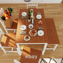 Dining Rectangle Table and 4 Chairs 1 Bench Set Kitchen Dinning Room Honey&White