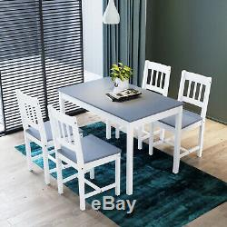 Dining Rectangle Table and 4 Chairs Set Kitchen Room Grey&White Furniture