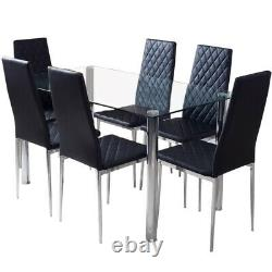 Dining Rectangle Table and 6 PVC Chairs Set Kitchen Dinning Room Black Furniture