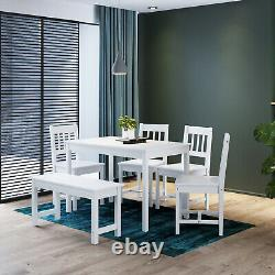 Dining Room/KitchenTable and Chairs Bench Set 6 Seat Quallty Wooden Cholce White