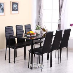 Dining Set Black Glass Dinner Table And 6 Fx-leather Chairs Seater Kitchen Room