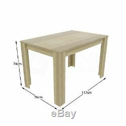 Dining Table & 4 Chairs Set Wood Fabric Dining Room Kitchen Oak Cream and Oak