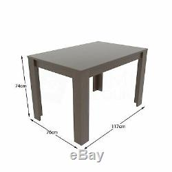 Dining Table & 4 Chairs Set Wood Fabric Dining Room Kitchen Walnut Grey and Oak