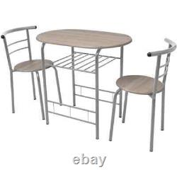 Dining Table And 2 Chairs Set Small Kitchen Space Saver Furniture Breakfast Bar