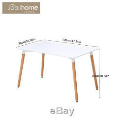 Dining Table And 4 Chairs Plastic Seat Wooden Legs Vintage Nordic Style White UK