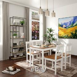 Dining Table And 4 Chairs Set Quality Solid Wooden Home Honey White Pine Colour