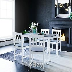 Dining Table And 4 Chairs Set Solid Wooden Home Grey White Kitchen Furniture
