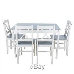 Dining Table And 4 Chairs Set Solid Wooden Home Grey White Kitchen Furniture Uk