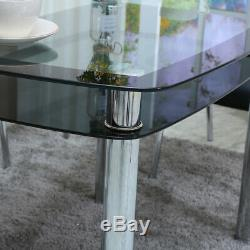 Dining Table And Chairs 4 Set Double Layer Fillet Glass Plated Leg Living Room