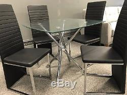 Dining Table And Chairs Black Faux Leather Square Glass Table Modern New