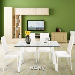 Dining Table Chairs Set Tempered Glass Table and 4 Faux Leather Padded Chairs