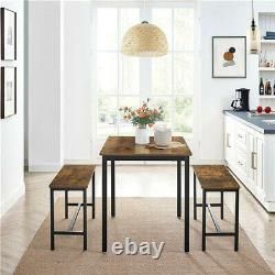 Dining Table Set & 2 Benches Outdoor Wooden Beer Table Chair Trestle Garden Pool