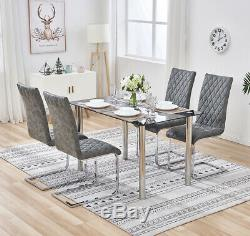 Dining Table and 2/4/6 Chairs Distressed Faux Leather High Back Kitchen Room Set