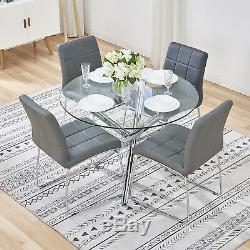 Dining Table and 2/4 Chairs Round Glass Top Faux Leather Seat Chrome Legs Modern